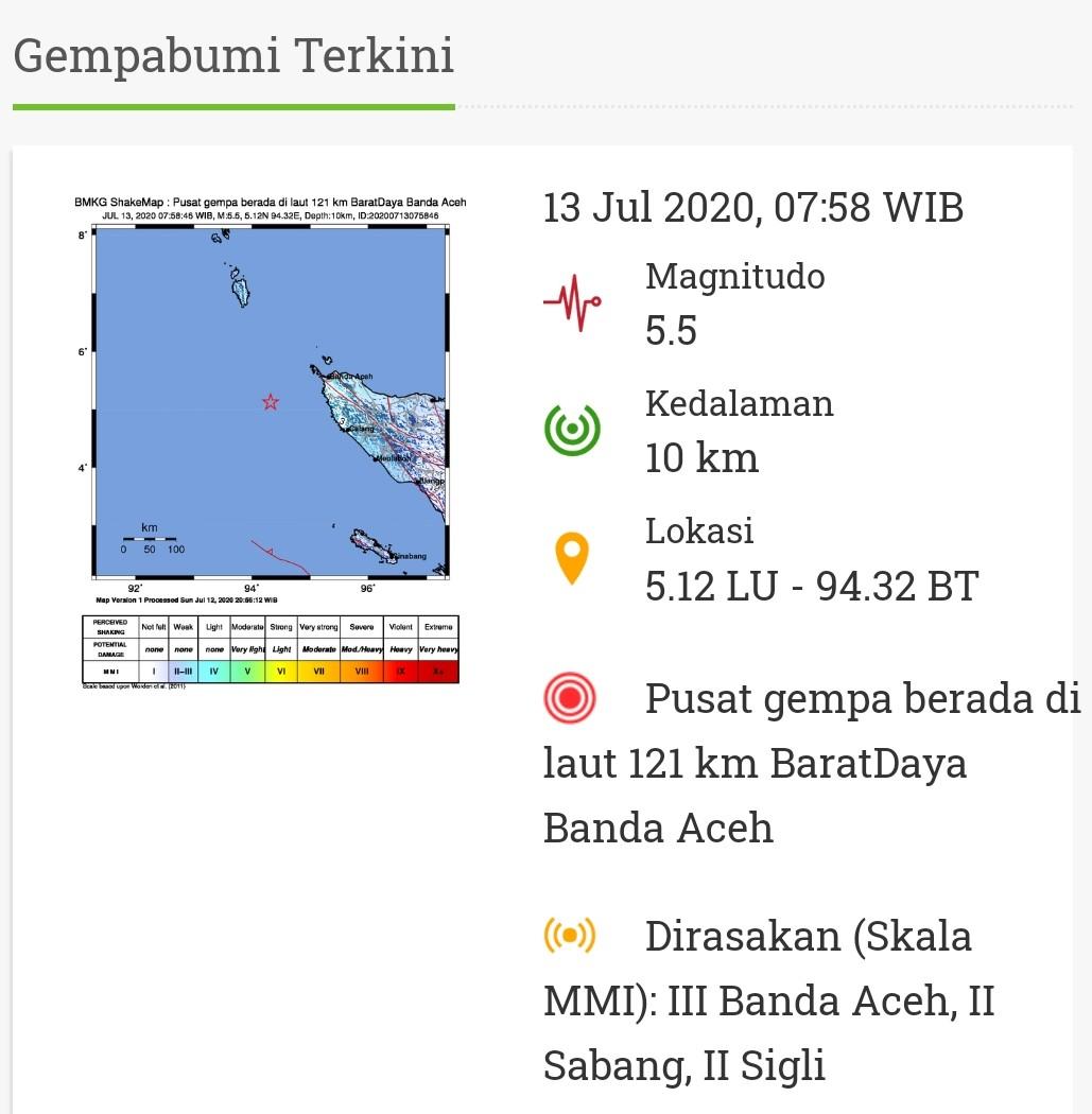Gempa Bumi 5 5 Magnitudo Guncang Banda Aceh Masakini Co